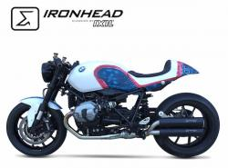 IRONHEAD HC1 Side exit Pair Black Silencers - BMW R NINE T 2014-17
