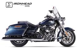 IRONHEAD HC2-1C Dual Chrome Silencers Harley Davidson Touring Road King - 2006-17