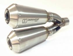 IRONHEAD OV1C3 INOX  Double Conical Silencer - DUCATI SCRAMBLER 2015-16